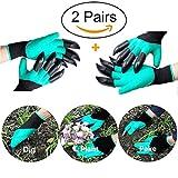 2 Paires gants jardinage, à l'épreuve des épines gants de travail pour le creusage et les roses Cactus Planting Nursery, gants de jardin avec des griffes(Griffes sur les deux mains)