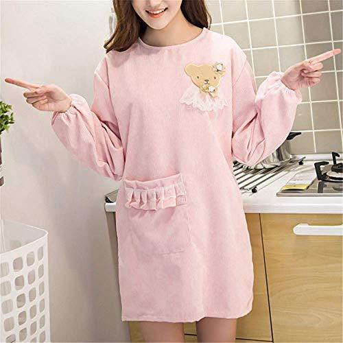 Kostüm Pink Für Erwachsene Supergirl - YXDZ Küchenschürze Langarm Wasserdicht Und Ölbeständig Mode Hausmannskost Kleid Erwachsene Frau Männer Taille Overalls Rosa