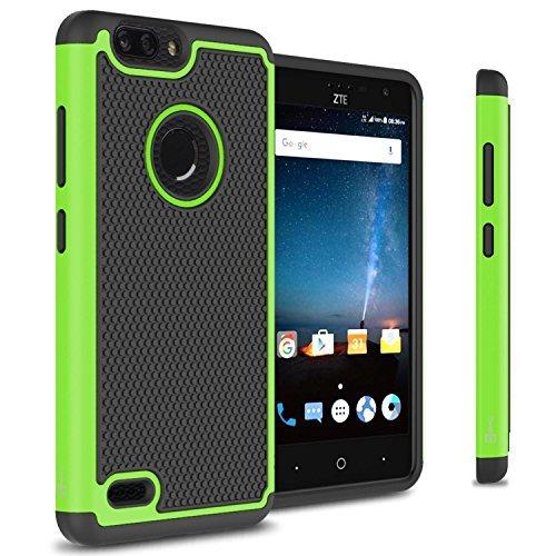ZTE Blade Z Max Fall, ZTE Zmax Pro 2Fall, ZTE Sequoia Fall, coveron hexaguard Serie Hybrid Hard Phone Cover Case, Neon Green (Handys Metro Pcs Zmax)