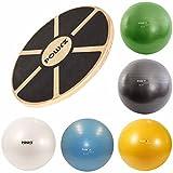 POWRX Balance Set I Balance Board Holz + Gymnastikball Sitzball versch. Farben I Gleichgewicht Stabilität Koordination (Anthrazit)