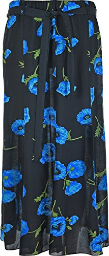 KK Fashion Lines Womens Summer Floral Print Skirt, Viscose Fabric, Elasticated Waist with Waist Tie Belt, 35 inch Length