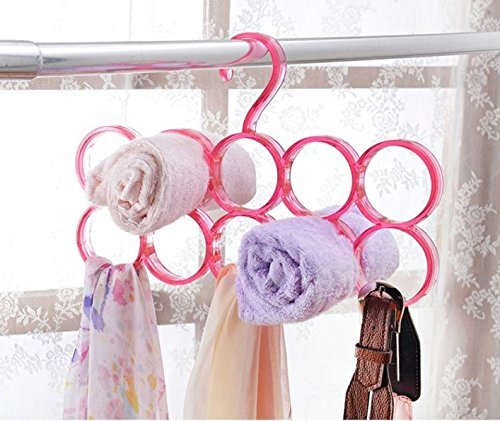 Evana Single Piece 5-Circle Plastic Ring Hanger for Scarf, Shawl, Tie, Belt, Closet Accessory Wardrobe Organizer (Assorted Colors)