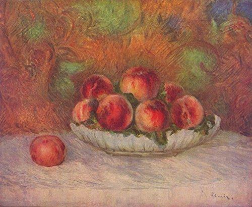Pierre Auguste Renoir Still Life (Pierre Auguste Renoir - Still Life Peaches - Extra Large - Semi Gloss - Brown Frame)