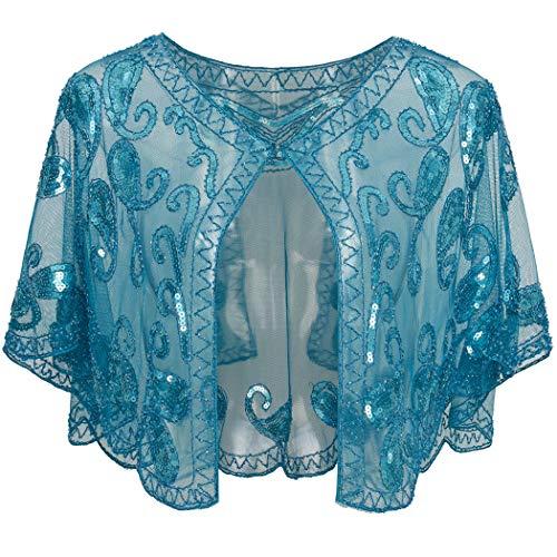 ArtiDeco 1920er Jahre Retro Schal Umschlagtücher für Abendkleider Stola für Hochzeit Party Gatsby Kostüm Accessoires (See Blau) (Schals Und Wraps Für Hochzeit)