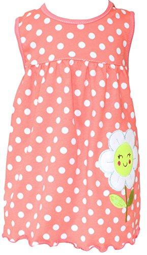 Sommer SALE! Sommerkleid   Shirt-Kleid Pincess Taufkleid Modell 18 orange gepunktet mit Blume