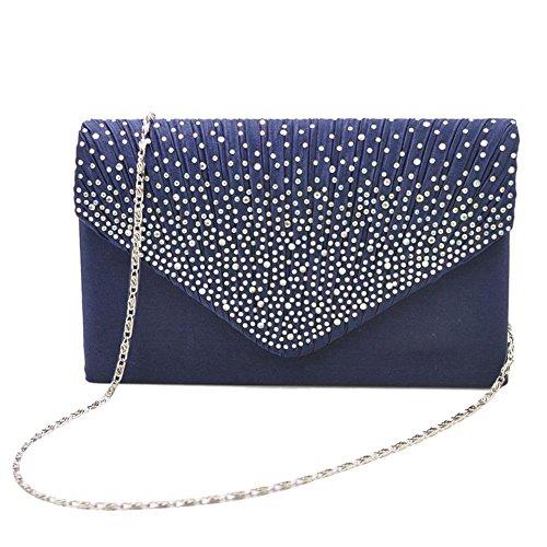 Tingtin Handtasche Abendtasche Damen Clutch Handtasche Bag Umhängetasche Kleine Schultertasche Damentaschen mit Satin Strass-Nieten für Party Hochzeit Alltag Einkauf -