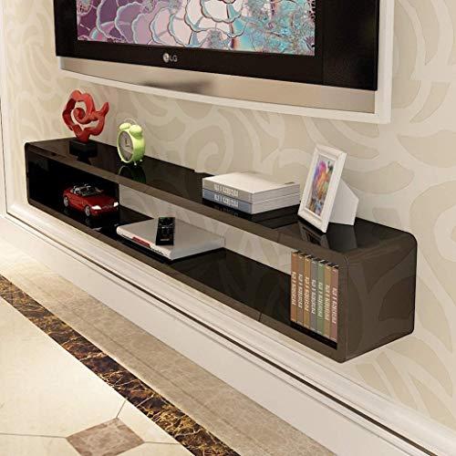 Top-komponente Regal (ACZZ Möbel Wandregale Wand-TV-Schrankregale TV-Hintergrund Wanddekoration Set Top Box Router DVD-Regale TV-Konsolenregale,Schwarz,100 * 20 * 20 cm)