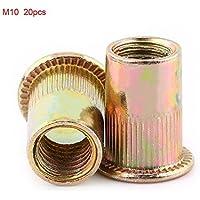 M3-M12 Tuercas de Remache Tuercas de Acero al Carbono Tuercas de Métrica Roscada Tuercas de Cabeza Plana(M10 20pcs)