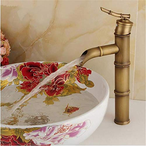 Stainless Steel Vintage Brasssingle Handle Bamboo Water Tap Antique Bronze Finish Brass Basin Sink Basin Fauce -