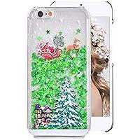 Hart Hülle für iPhone 6S Plus,Glitzer Handyhülle für iPhone 6 Plus,Moiky Luxus Lustige Weihnachtsbaum Wagen Muster 3D Sterne Treibsand Crystal Weich TPU Schwebend Stoßfest Kratzfeste Schutzhülle