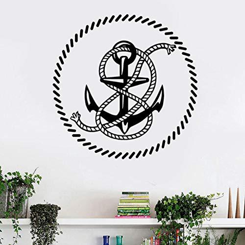 Aizaixinli Nautische Wand Applique Runde Anker Seil Vinyl Hauptdekoration Wohnzimmer Dekoration Schlafzimmer Abnehmbare Wand Applique Badezimmer 57 * 57 Cm -