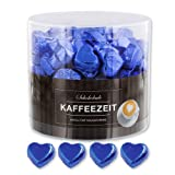 Günthart 150 Stück blau Schokoladen Herzen mit Nougatfüllung
