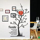 Grandora W5066 Wandtattoo Stammbaum Familie I braun 65 x 106 cm I Spruch Baum Flur Diele selbstklebend Aufkleber Wandaufkleber Wandsticker