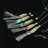 lumineuse Sabiki Pêche Bas de ligne tamisée Poisson/crevettes Sabiki Leurre Eau salée/eau douce Pêche Appât