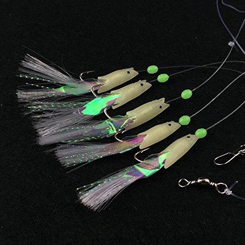 Angeln Salzwasser Sabiki-köder (Luminous Sabiki Angeln Rigs Glow Soft Fisch/Garnelen Sabiki Lure Salzwasser/Süßwasser Angeln Köder)