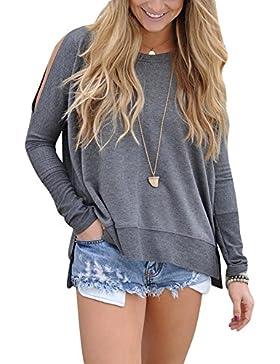 Donna Camicia Elegante Autunno Primavera Camicetta a Manica Lunga Blusa T-Shirt Top Grigio XL