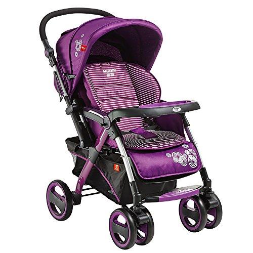 Cochecito De Bebé Plegable Reclinable Sentado Material De Lino De Algodón Marco Audaz Con Paraguas Paraguas Choque Carro De Cuatro Ruedas 62 * 72 Cm (Color : Purple)