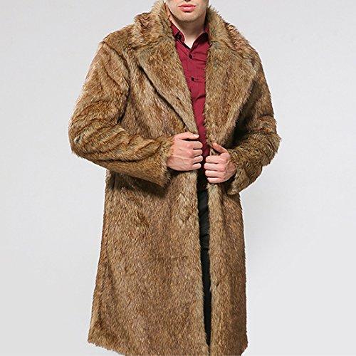 YYF Herren Kunstfell Pelz Warme Parka Lange Mantel Jacken