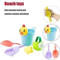 Beach Toys, SHOBDW 5PCS Yellow Duck Sand Sandbeach Kids Beach Toys Castle Bucket Spade Shovel Rake Water Tools