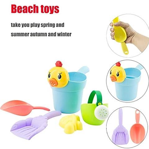 Beach Toys, SHOBDW 5PCS Yellow Duck Sand Sandbeach Kids Beach Toys Castle Bucket Spade Shovel Rake Water Tools (22x12x19cm,