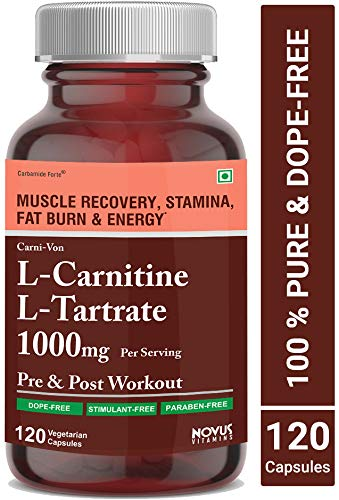 Carbamide Forte L-Carnitine L-Tartrate 1000mg Per Serving   Weight Loss, Fat Burner, Muscle Recovery, Pre & Post Workout Supplement - 120 Veg Capsules