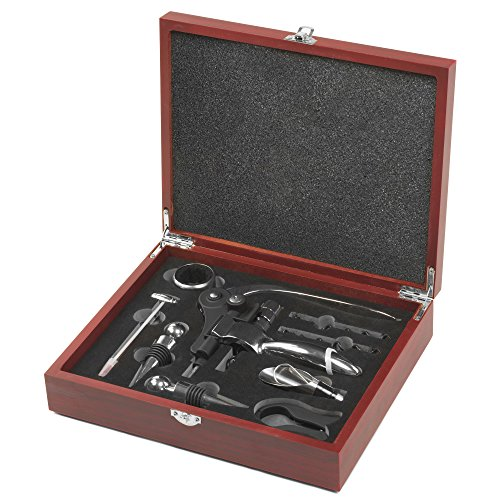 Andrew James 9 Piece Wine Connoisseur's Set With Wooden Case