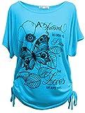 Emma & Giovanni - T-Shirt/Oberteile Kurzarm Schmetterlinge - Damen (# Blauer Himmel, S/M)