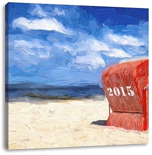 einsamer Strandkorb an der Nordsee, Format: 60x60 als Leinwandbild, tolle Bilder fertig auf Holzrahmen gespannt, Kunstdruck auf Wandbild mit Rahmen, günstiger als Gemälde oder Ölbild, kein Poster oder Plakat