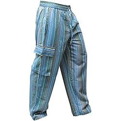 SHOPOHOLIC FASHION - Pantalones hippies de pierna ancha unisex, bolsillos laterales, diseño rayas multicolor multicolor Turquise mix XL
