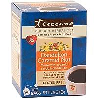 Teeccino Herbal Coffee Alternative Tee-Bag, Gluten-Free Dandelion Caramel Nut, 10 Count