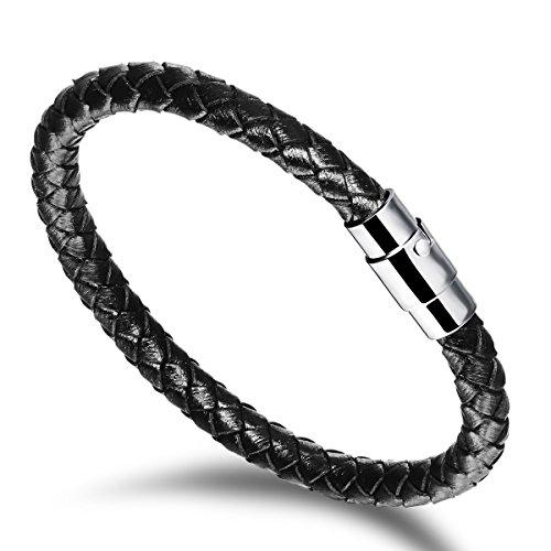 Wowl pulsera de cuero genuino con la hebilla del acero inoxidable magnético para el novio regalo de cumpleaños