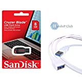 Sandisk Cruzer Blade (8 GB) + High Speed 3.0 Usb Extension Cable(1.5 Mtr) best price on Amazon @ Rs. 610