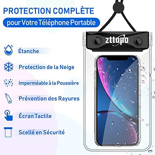 Zttopo Pochette Téléphone Étanche, 2 PCS Housse étanche jusqu'à 6.5'' Sac ProtectionSmartphones pour iPhone X XS XR 8 7 6S 6 Plus Samsung Galaxy S10 S9 S8 S7 Huawei p20 Mate 20 Sony Xiaomi HTC