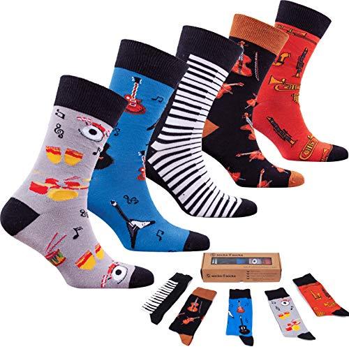 socks n socks-Männer 5 pk Bunte Baumwolle Neuheit Musik Klavier Gitarre Socken Geschenkbox Einheitsgröße - Strumpf Gitarre