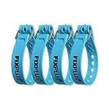 Fixplus Strap paquete de 4 - correa de sujeción para asegurar, sujetar, agrupar y trincar, a base de material plástico especial con hebilla de aluminio 35cm x 2.4cm (azul)