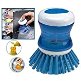 #9: Lukzer Plastic Cleaning Brush with Liquid Soap Dispenser, Self Dispensing Cleaning Brush for Floors,Kitchen,Laundry and Other Household Chores/Kitchen Cleaning Tools/Brush for Sink Cleaning