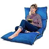 Faltbares Bodenkissen in Baby Blau mit Memory Schaumstoff Füllung und Premium Velour Bezug - Super Weiches Sitzkissen Stützkissen Lesekissen - Faltmatratze Bett Futon