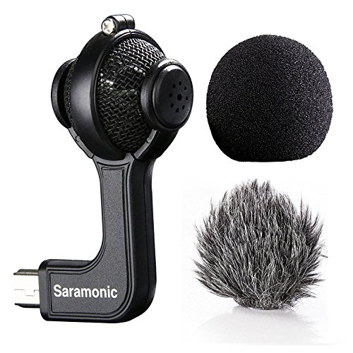 Gimbal Gehäuse (Saramonic Stereo Kondensator-Mikrofon mit Mini-USB mit Foam & Furry Windschutzscheiben, für GoPro Hero 3 3+ 4 Sport Action Video Kamera Schwarz)