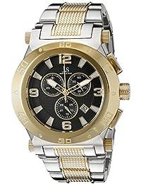 Joshua & Sons Reloj de hombre de cuarzo con Negro esfera analógica pantalla y pulsera de acero inoxidable multicolor jx104ttg