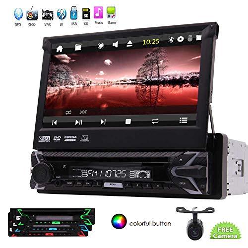 EINCAR Einzel Din in Dash Wince Car Stereo Head Unit Autoradio Bluwtooth Freihändige DVD GPS / 7incn Flip Out Touchscreen-Display Audio-Video-Empfänger USB/SD/FM/AM-Mikrofon + Rückfahrkamer