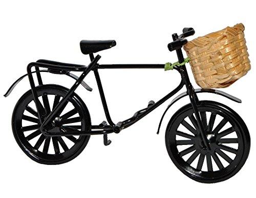 Miniatur Fahrrad mit Korb - aus Metall schwarz - für Puppenstube Maßstab 1:12 Puppenhaus - / Geldgeschenk Fahrräder