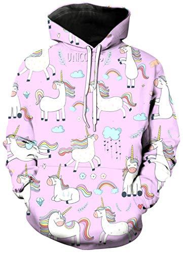 Ocean Plus Mädchen Kapuzenpullover Einhorn Flamingo Hoodie Geburtstag Sweatshirt mit Kapuze Ananas Girls Kinder Kapuzensweatshirt (XL (Körpergröße: 135-145 cm), Einhörner in verschiedenen Formen)