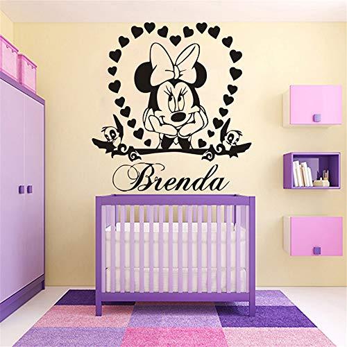 wandaufkleber 3d Wandaufkleber Schlafzimmer Mickey Mouse Wandaufkleber Aufkleber Wandtattoo Minnie Mouse Vinyl Name Personalzied Wandbild Mädchen Schlafzimmer Herz Name Diy Dekoration