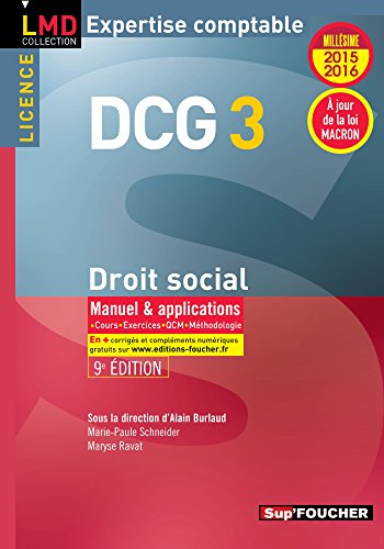 DCG 3 - Droit social - Manuel et applications - 9e...