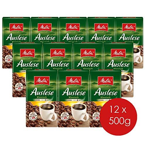 Melitta Gemahlener Röstkaffee, Filterkaffee, kräftig mit rundem Aroma, Stärke 4, Auslese Klassisch, 12er Pack (12 x 500 g) - Kaffee-pakete Individuelle