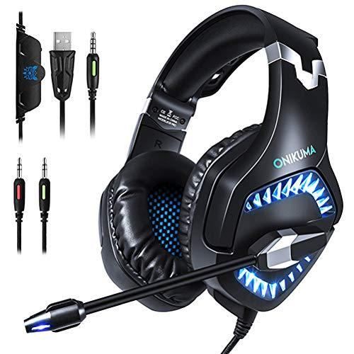 qka cuffie da gioco, con microfono e luce a led noise cancelling headset per ps4 xbox one pc portatile mac computer smartphone 3.5mm stereo sound cuffie comode,blue