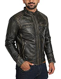 124ff8a514c Mens Fitted Biker Leather Jacket Black Rub Off Vintage Effect Zip Up Casual  Coat - Bowie