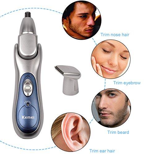 CkeyiN ® 2-en-1 Cuidado Cara Afeitar Barbero Retiro del Pelo Nariz y Orejas Eléctrica Recargable para Templo Ceja Barba
