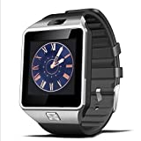 Smart Watch Bluetooth Padcod Montre Connectée Caméra Support Micro SIM Facebook Twitter WhatsApp pour Android Samsung HTC LG SONY Huawei Wiko IOS iPhone 5S 6 6S 6S Plus, Noir + Argent