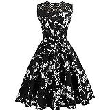 Kleider damen Kolylong® Frauen Elegant Blumenmuster Ärmelloses Kleid Vintage Rockabilly Kleid Swing Kleid Knielang Festlich Kleider Cocktailkleid Party Kleid Abendkleid (Schwarz, S)